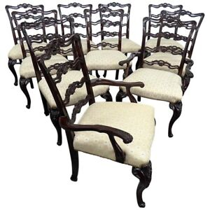 Set Of 10 Georgian Style Ladderback Dining Chairs