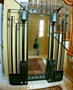 Antique Wrought Iron Art Deco Lighted Hallway Entrance Piece Edgar Brandt Style
