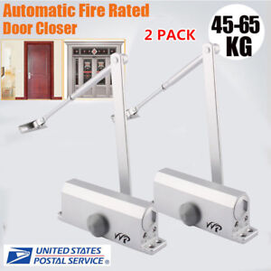 2x Aluminum Commercial Door Closer Two Independent Valves Control Sweep 45 65kg