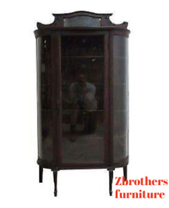 Antique Tiger Oak Bow Glass Curio Cabinet Display Hutch