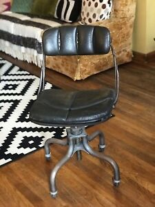 Do more 1940 s Industrial Drafting Office Swivel Chair Green Leather Machine Age
