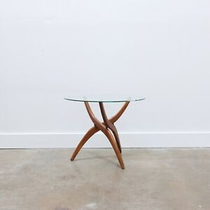Mid Century Modern Walnut Glass Side Table By Forest Wilson