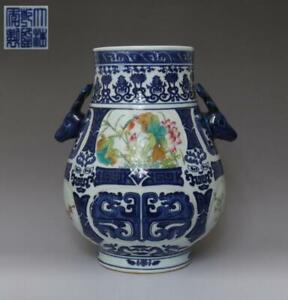 Very Rare Chinese Old Blue And White Porcelain Vase With Qianlong Marked 657