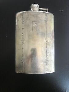 Art Deco Sterling Silver Wallace 6x5 Flask Wallace 3 4 Pint Marked Weighs 257g