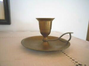 Antique Traveling Candlestick Brass Bronze With Drip Tray And Handle