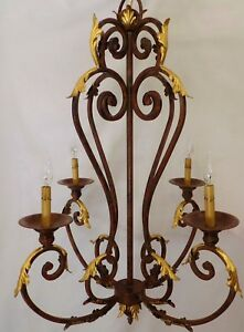Large Vintage 41 French Iron Chandelier With Gilded Acanthus Leaves