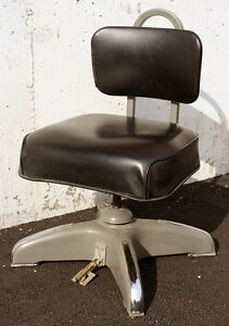 Vintage Steel Metal Vinyl Machinist Industrial Office Rocking Swivel Chair Stool