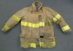 44x35 Brown Firefighter Jacket Coat Bunker Turn Out Gear Globe J523