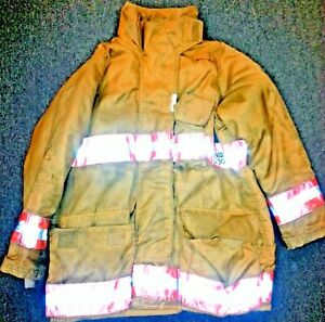 46x30 Firefighter Jacket Coat Bunker Turn Out Gear Gold Securitex J502