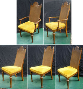 5 Vintage Antique American Martinsville Caned Wood Wooden Dining Chair Armchair