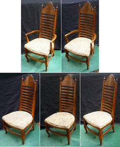 Set 5 Vintage Antique Drexel Ladderback Wood Wooden Fabric Dining Chair Armchair