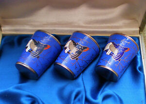 New Vintage Russian Cloisonne Enamel Shot Glass Set Of 3 German Silver Melkhior
