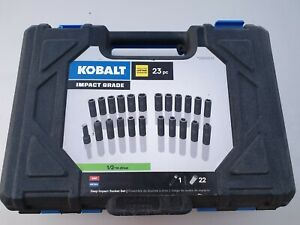 New Kobalt 23 piece Standard sae And Metric 1 2 Drive 6 point Impact Socket