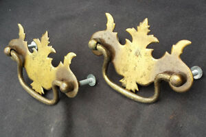 6 Availble Pair Vintage Colonial Metal Dresser Drawer Furniture Drop Pull Handle