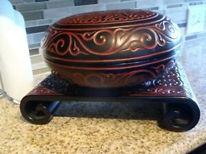 Chinese Tixi Lacquer Bowl And Stand 19th 20th Century In Sword Pommel Motif