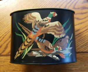 Vintage Hand Painted Pheasant Quail Game Fowl Scene Black Toleware Oval Tin Can