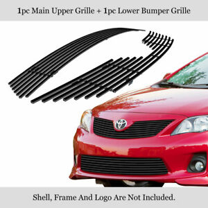 For 2011 2013 Toyota Corolla Stainless Steel Billet Grille Insert Combo