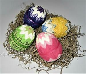 4 Folded Fabric Easter Egg Shaped Bowl Fillers Ornies