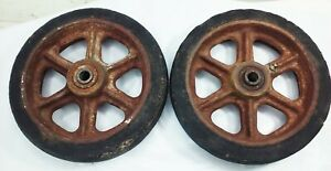 Vtg Cast Iron Metal Industrial 8 Factory Cart Castor Caster Wheel Set