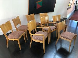 Mid Century Heywood Wakefield Stingray Dining Chairs Set Of Eight 2 Armchairs