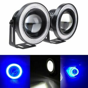 2x 2 5 Projector White Led Fog Light Cob Angel Eye 10000k Blue Halo Ring Kit