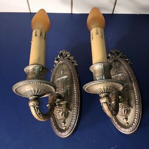 Pair Of Neoclassical Victorian Lightolier Sconces Wired Pair Nice 57b