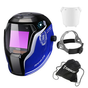 Deko Welding Helmet Auto Darkening Professional Hood Welding Mask Solar Powered