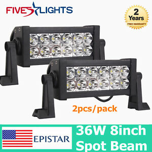 2x 8inch 36w Led Work Light Bar Spot Beam For Driving 4wd Offroad Truck Front Fs
