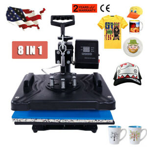 8 In 1 Heat Press Machine Transfer Sublimation Cap T shirt Hat Printing 12 x15