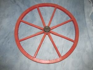 Antique Wooden Cart Wheel With Iron Tread Hub In Red Paint 19 5 Inch