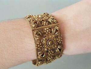 Rare Antique Jewelry Ottoman Gold Plated Silver Filigree Handmade Bracelet Xixc