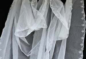 Antique French Embroidered Tambour Lace White Wedding Veil C 1930