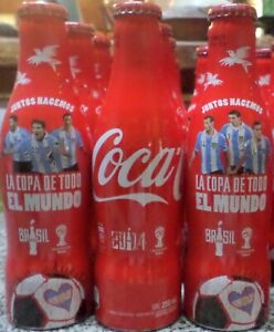 SET OF 3 COCA COLA ALU FULL   BOTTLES FIFA WORLD CUP BRAZIL 2014 FROM ARGENTINA