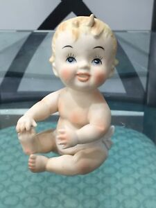 Vintage Porcelain Bisque Piano Baby Kewpie Napco Baby Boy Blue Eyes N3149 4 75