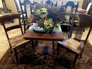 Lamp Table Or Tea Table With 2 Chairs Cane Weave Vintage Wood Set