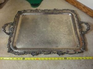 Vintage Huge Silverplate Tray Fancy Engraving Heavy Duty Footed Platter