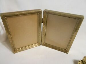 Vintage Double Fold Metal Stand Up Picture Frame 7 X 5 Each