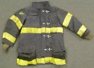 44x35 Janesville Black Firefighter Jacket Coat Bunker Turn Out Gear J747