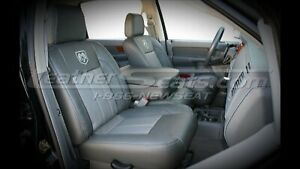 2006 09 Dodge Ram Embroidered Leather Seats 2 Tone Quadcab 40 20 40 Front