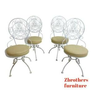 4 Vintage Scrolled Iron Swivel Outdoor Patio Porch Dining Room Chairs