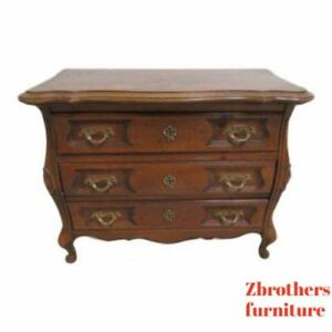 Vintage French Carved Knotty Pine Bombay Commode Lamp End Table Night Stand