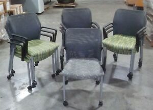 Lot Of 10 Highmark 701m Wheeled Stackable Ten Mesh Guest Chairs