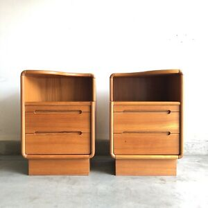Mid Century Danish Modern Pair Of Nightstands End Tables Solid Teak 60s Mcm