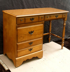 Vintage Antique Wood Wooden Office Work Knee Hole Student Desk Writing Table