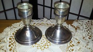 Vintage English Sterling Silver Weighted Candlestick Holders W Sconce Couplers