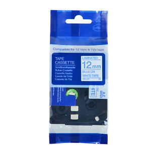 Tze233 Tz233 Tze 233 Blue On White Label Tape For Brother P touch 1 2 12mm