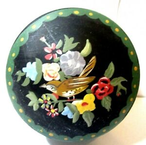 Beautiful Painted Wood Bird Floral Flower Tole Style Covered Box Jewelry Trinket