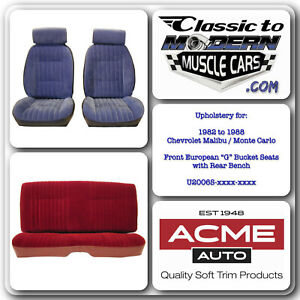 1982 To 1988 Monte Carlo Front Bucket Seat With Headrest Rear Bench Upholstery