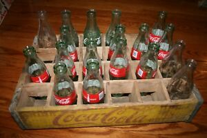 Coca Cola Wooden Crate w/ Dividers  Collectible Vintage Includes Bottles