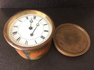 Vintage Swiss Mantle Clock Wind Up Movement Face Hands For Parts Or Repair